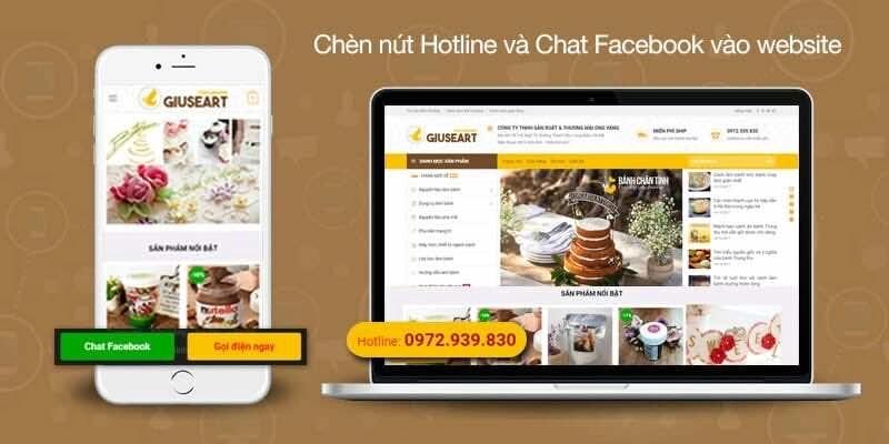 chen nut hotline va chat facebook vao website