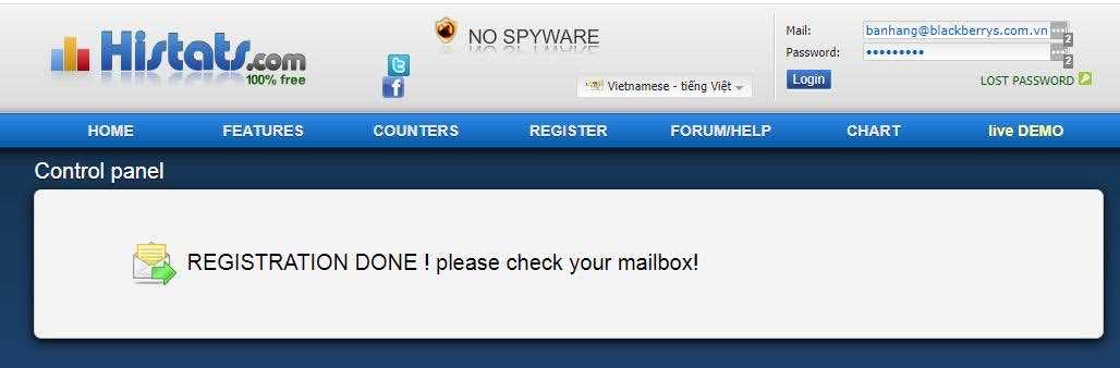 Mở mail để xác thực cài đặt Histats