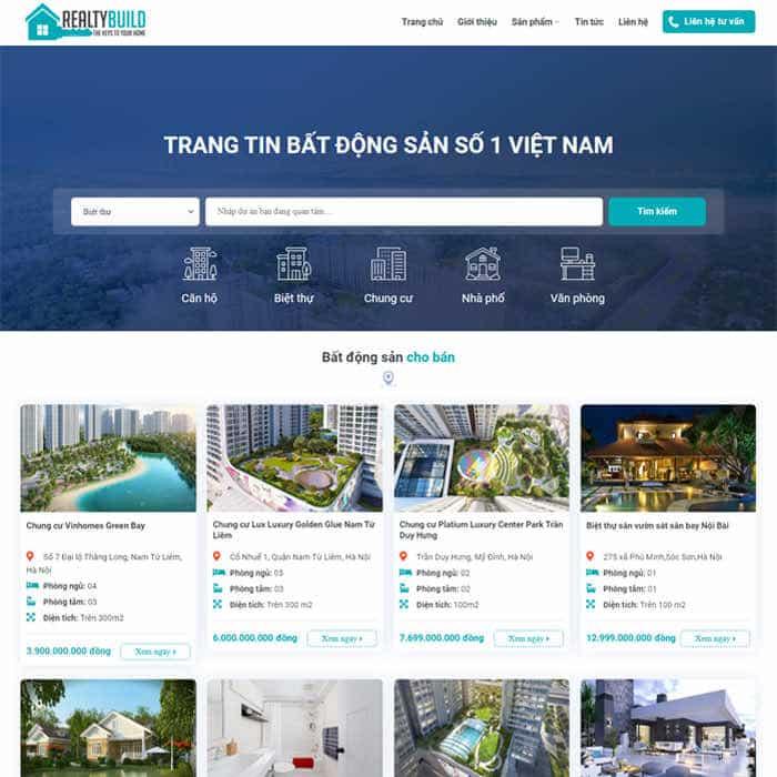 BĐS 29 - Mẫu website bất động sản đẹp Nhiều Dự Án (VIP)