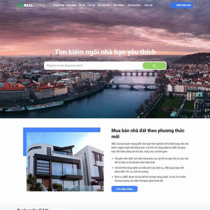 BĐS 23 – Giao diện website bất động sản nhiều sản phẩm