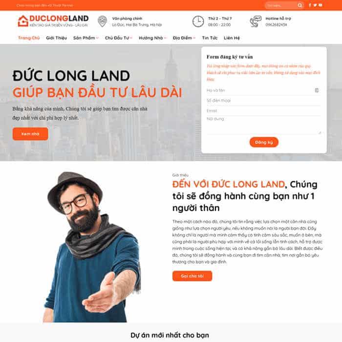 BĐS 26 – Mẫu website bất động sản bán Nhiều Dự Án