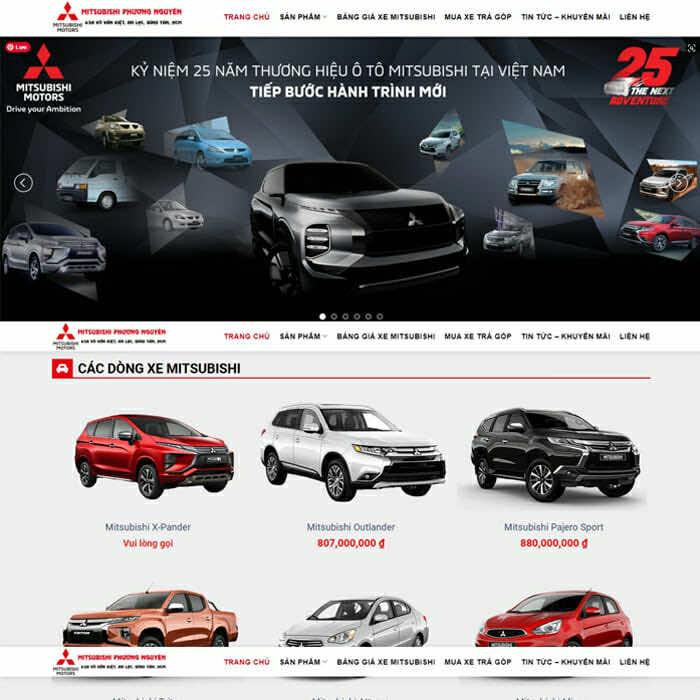 Mitsubishi - Mẫu website đại lý ô tô Mitsubishi